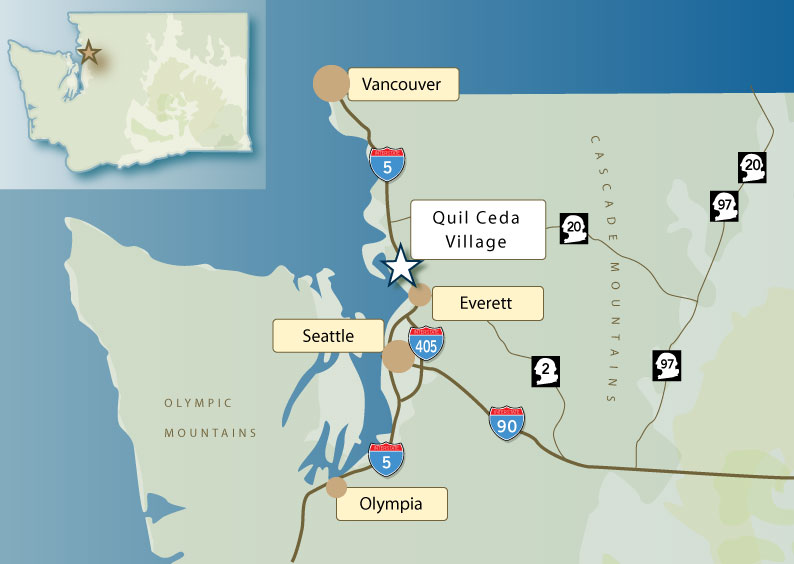 Washington State Map with Highways Courtesy of Quil Ceda Village